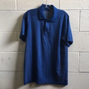 Lululemon men's blue s/s polo top sz Med 57676